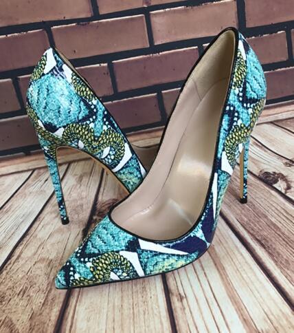 La venta caliente de las mujeres calza botas de serpiente verde pintado la piel Zapatos de tacón de 12 cm Fashion Party-Hierro 10 cm 8 cm de Super estilete de vestido de tacón alto