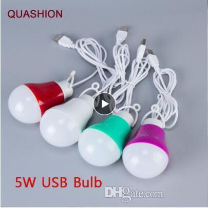 다채로운 PVC 5V 5W USB 전구 빛 휴대용 램프 LED가 5730 캠핑을 하이킹에 대 한 텐트 여행 전원 은행 노트와 함께 작동