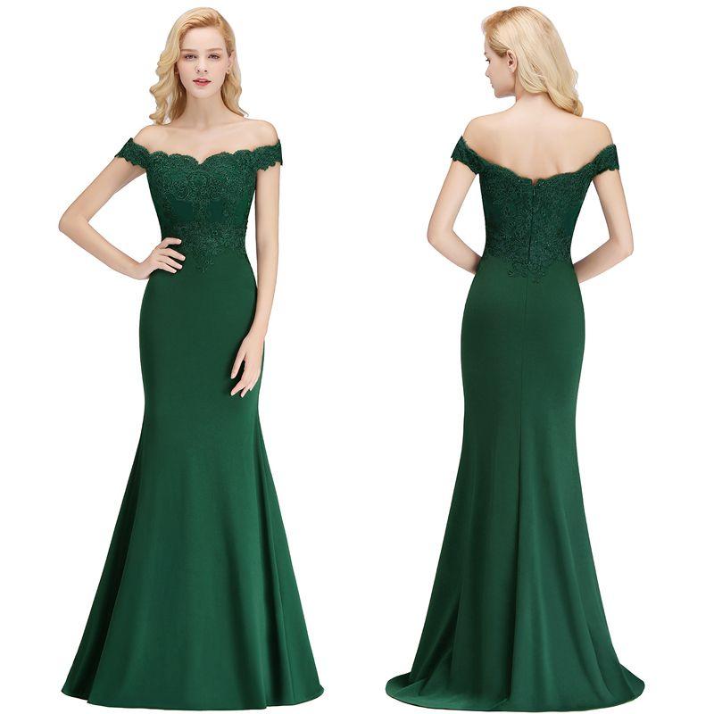 Compre Caliente Verde Oscuro Con Hombros Descubiertos Vestidos De Noche Largo Del Piso Apliques De Encaje Tallas Grandes Vestidos Formales