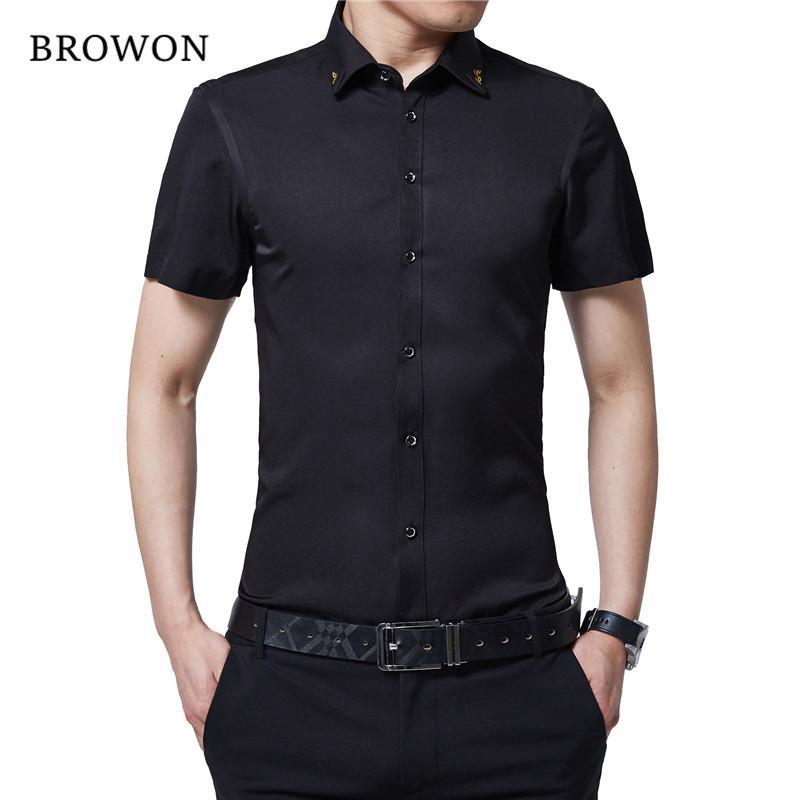 BROWON Marca New verão Homens camisa do smoking cor sólida Turn Down Collar Shirt partido do estilo fina de manga curta camisa para homens Roupa T200528