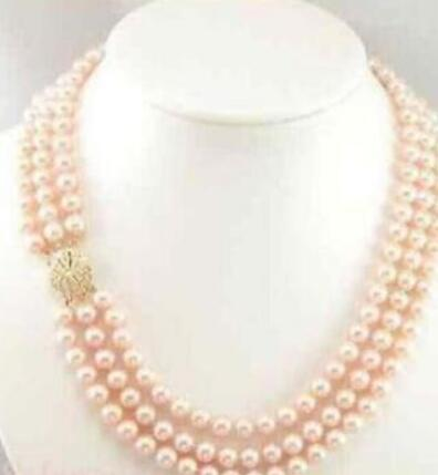 ENVÍO GRATIS triple strandAAA 7-8mm australiano mar del sur rosa perla necklacE 17-19 ""