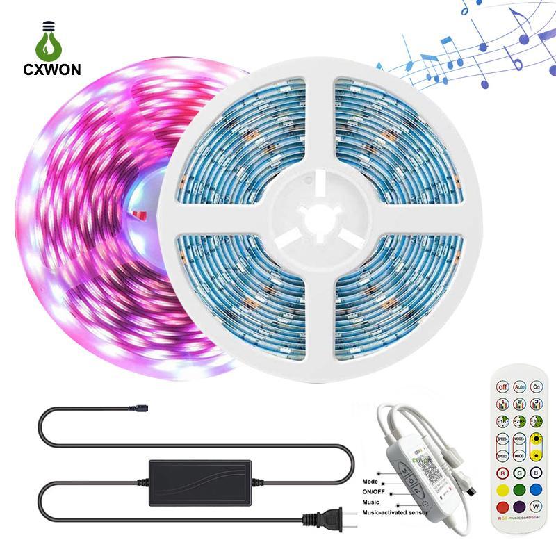 DC12V 5050 RGB LED Strip Set 30LEDS / M 16.4FT 32.8FT + Alimentazione + Musica Bluetooth 24 tasti remoti