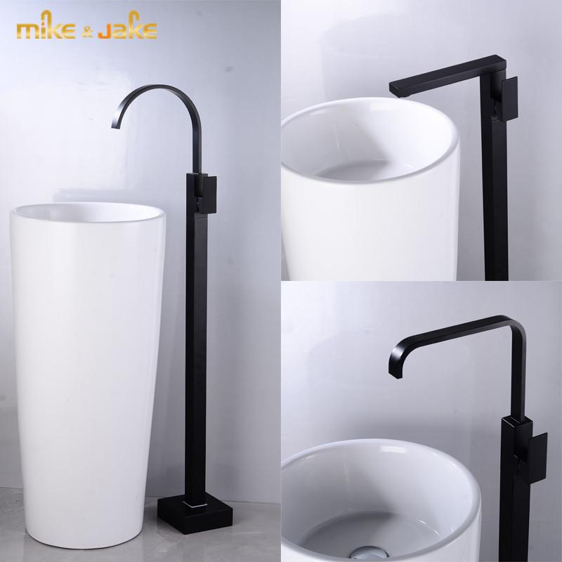 Badezimmerboden schwarz Hahn Wasserfall Badewanne Wasserhahn schwarz heiß und kalt groß Tisch-Armatur Stockwerkbad Wasserhahn-Wannenbatterie
