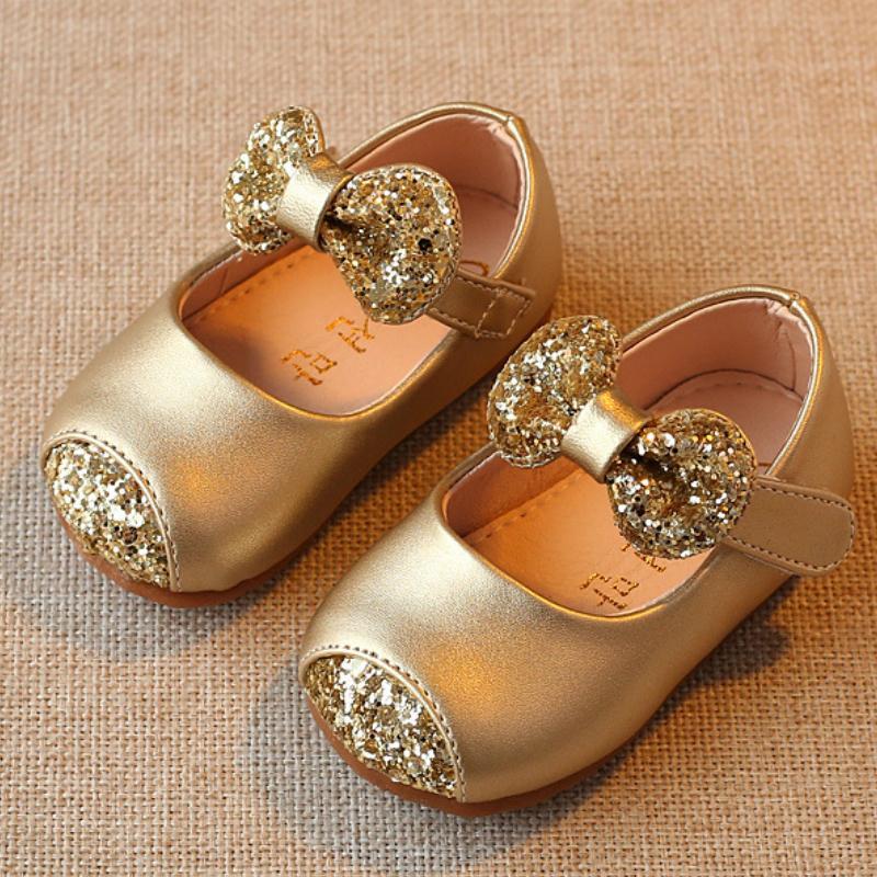 Newborn Girl First Walk Gold Pink Sliver Spark Toddler Soft Bottom Baby Princess Shoes B J190518