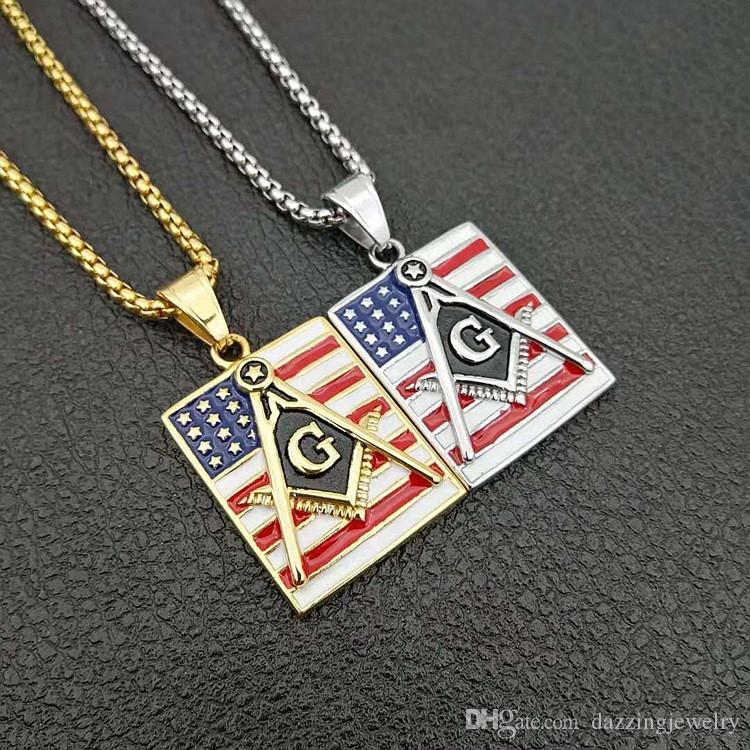 Mens Stainless Steel 18K Gold Silver Colorful Epoxy Enamel United States American Flag Masonic Pendants Freemasonry Mason Logo Engraved