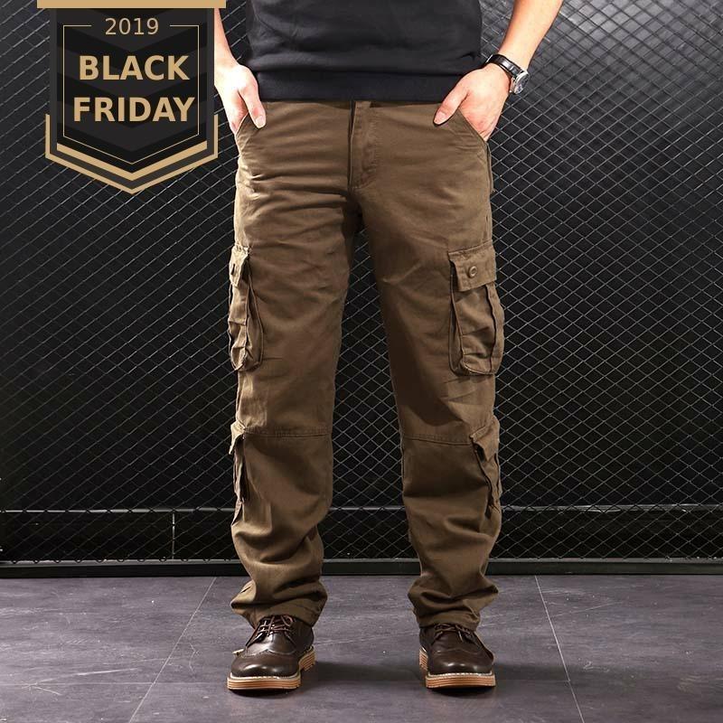 Cargo Pants FALIZA uomini di multi tasche stile militare tattici pantaloni Outwear del cotone degli uomini di pantaloni diritti casual per uomo CK102 CJ191213