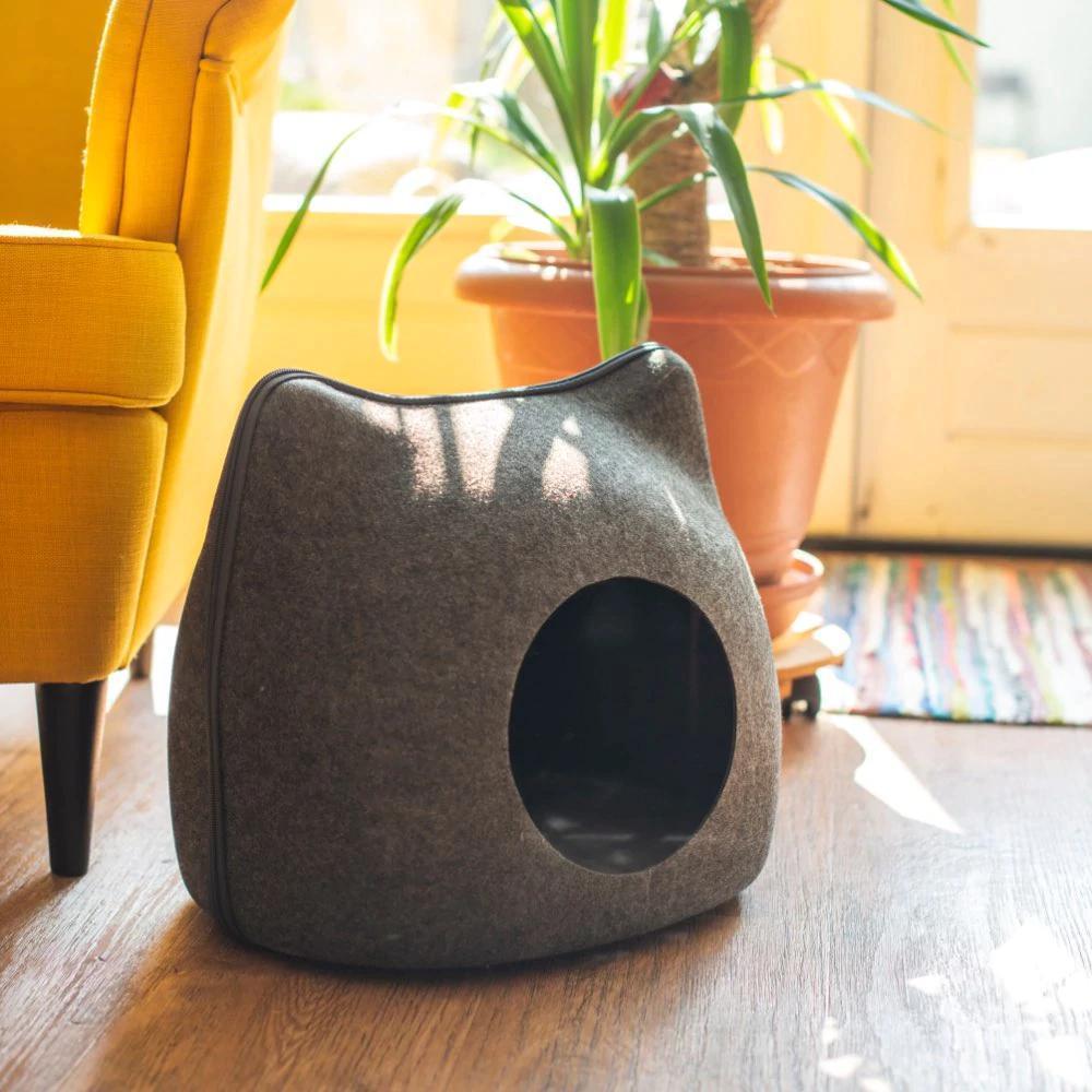 المحمولة الشكل القطة الأليفة سرير القط كهف حقيبة النوم سحاب البيض الشكل ورأى القماش الحيوانات الأليفة في البيت عش القط سلة مع وسادة