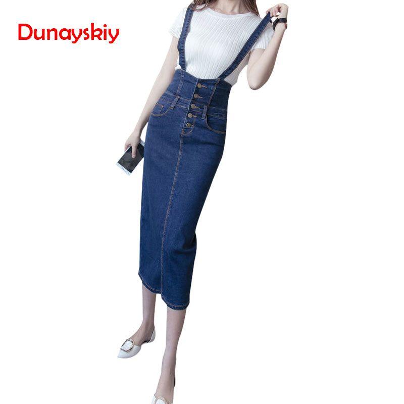 Длинная джинсовая юбка с ремешками женщины кнопка джинсы юбки плюс размер длинная Высокая талия юбка-карандаш джинсовые юбки женские S-5XL