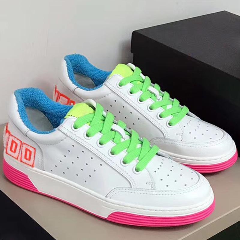 [La mejor calidad con carpetas] para mujer del deporte del cuero de los zapatos corrientes Bown amarilla zapatillas de correr zapatilla de deporte de fondo verde de verano