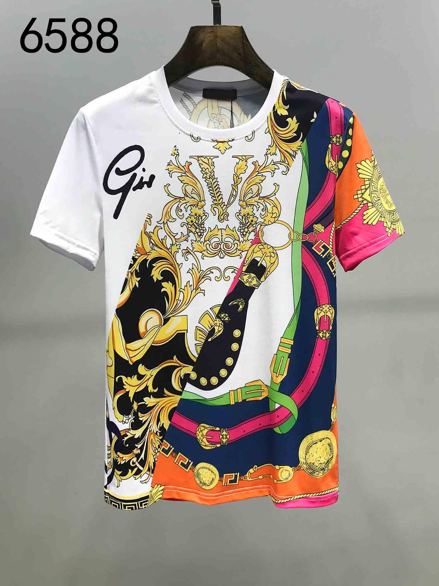 estate Designer uomini della T-shirt a maniche corte camicia ricamata del collo del collo casuale rotondo stampa 4 colori