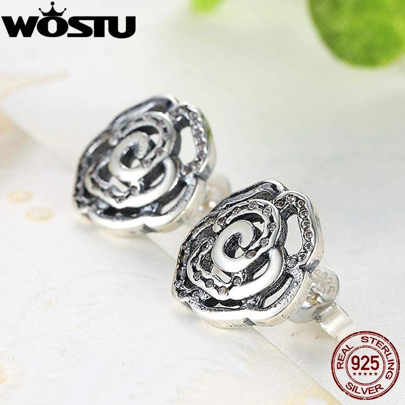 Modo- 925 Argento sterling Shimmering Rose Orecchini con Clear CZ per regalo Gioielli Donne Xchs406