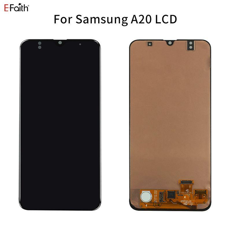 Hücre İçi Suya Üst Kalite LCD Ekran Sayısallaştırıcı Meclisi için Samsung Galaxy A20 Yedek Ekran Parçaları Siyah
