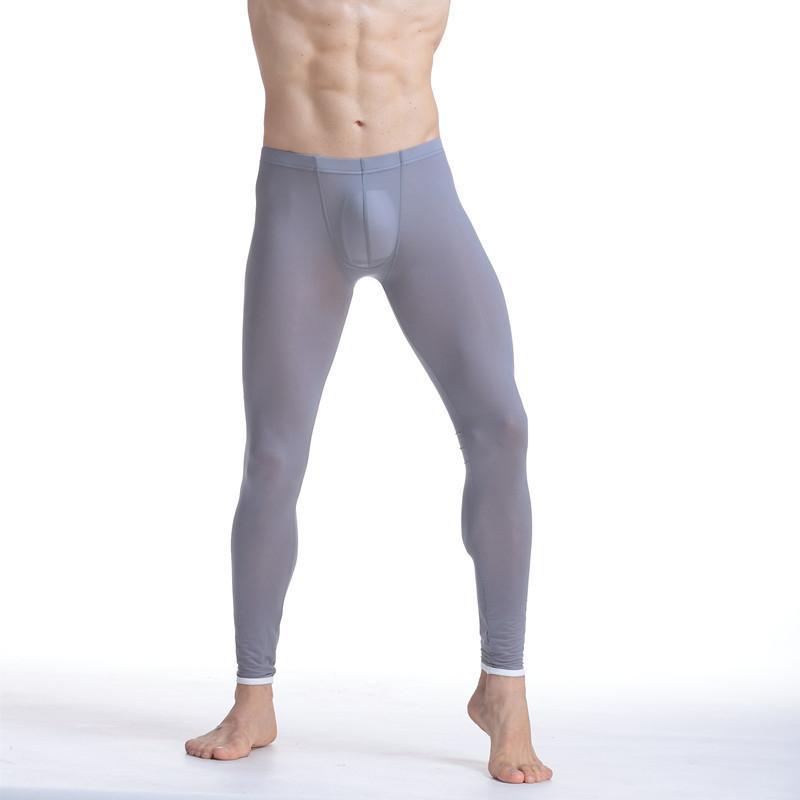ainr Men Ice Silk Underwear Slim Leggings Tight Pants Long Johns