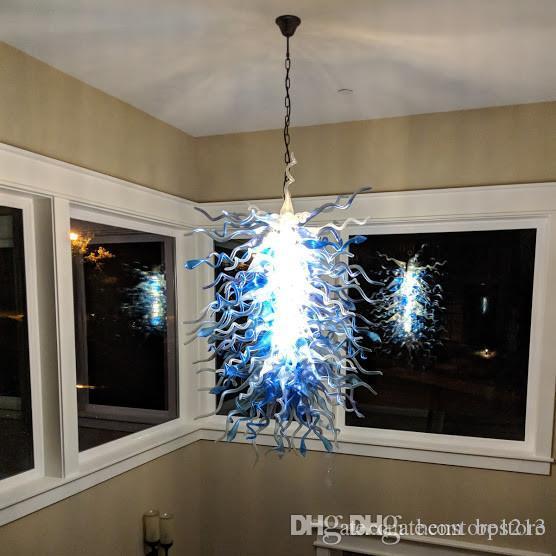 Pretty Blue Chandelier Light for Villa Art Decor 110-240V LED Light Source Italian Pendant Lamp for Staircase New House Decoration