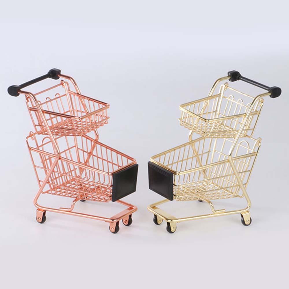 Doppel-Deck Mini Simulation Supermarkt Handcart Wagen-Modell-Speicher Toy Tisch Neuheit-Dekoration Kinder Pretend Play-Spielzeug