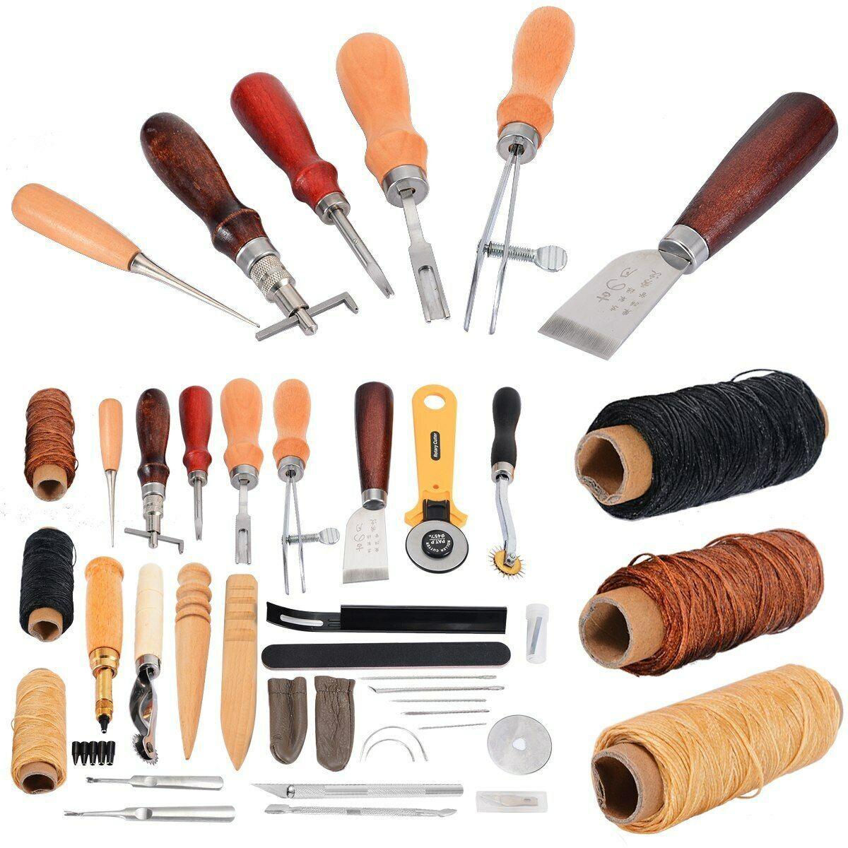 New 37Pcs Leather Craft Tools Sewing Stitching Punch Carving Work Saddle Kit UK