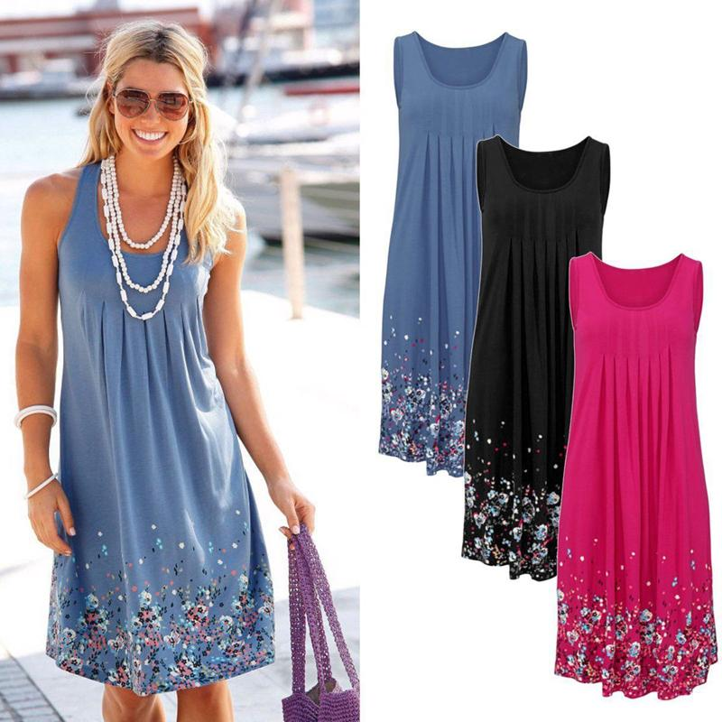 Moda de verano Vestidos sin mangas de playa Estampado floral Loose Moda Seis colores Vestido casual para mujer 2019 Vestido sexy púrpura azul negro rosado