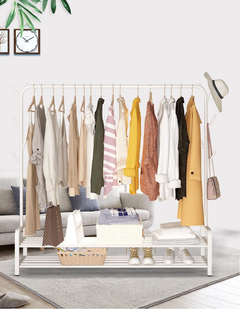 Clothes Rack 2-in-1 Coat Rack Rolling Garment Rack with Bottom Shelves Side Hooks Lockable Wheels Rolling Closet Organizer White Black Color