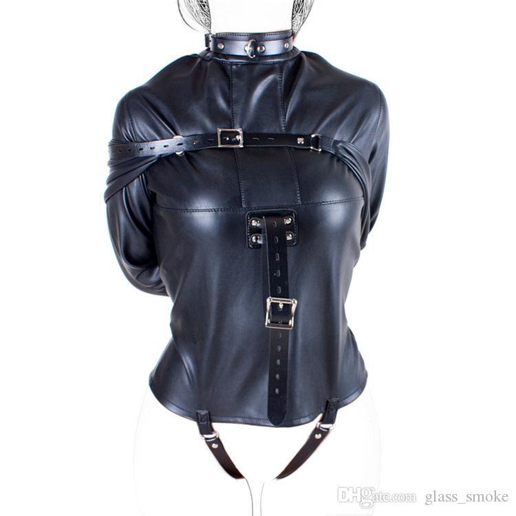 PU Leather Straitjacket Strict Kinky Fancy Straight Jacket for Women SM S&M Body Harness Fetish Cosplay BDSM Bondage Gear Sex Toy