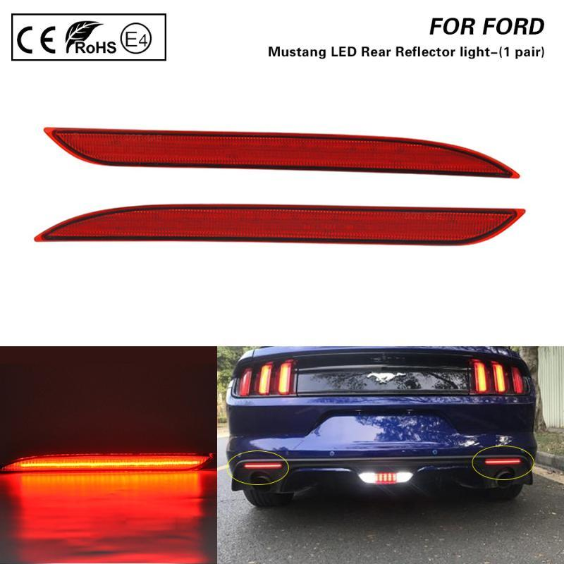 Für Mustang 2015-2017 Rote Linse LED Heckstoßstange Reflektor Lichtlampe Bremslicht Rückleuchte rot 2ST