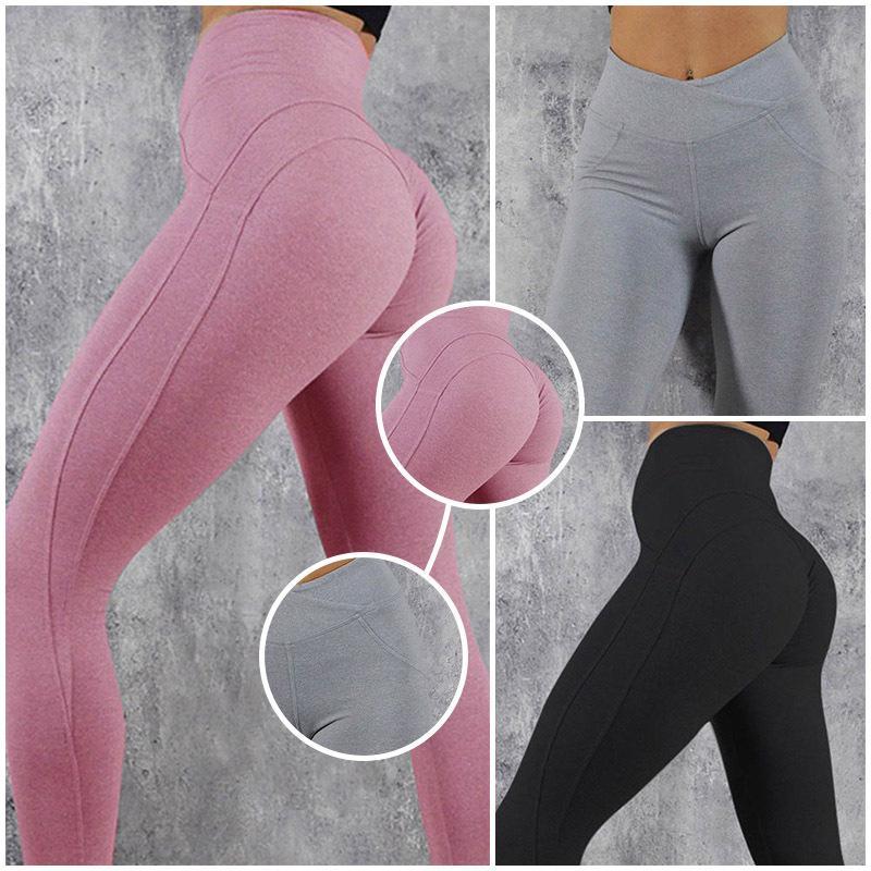 perfeita mulheres leggings de ioga esporte da aptidão V Forma Legging Push Up Scrunch Leggings mulheres inverno quente calças Y200601