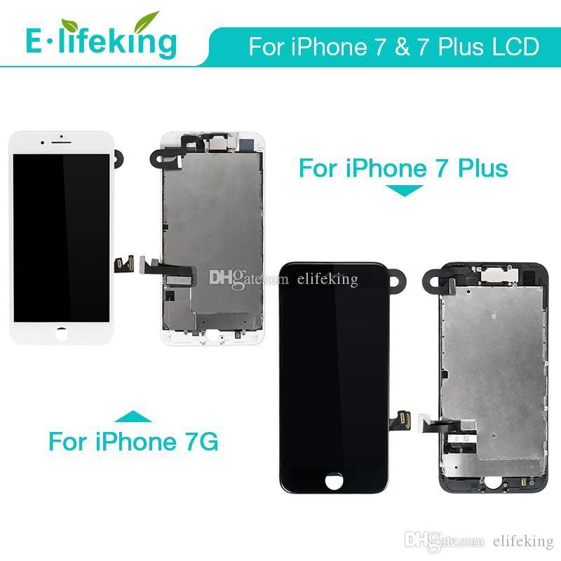 Pantalla LCD completa para iPhone 7 7 Plus Pantalla táctil Digitalizador Ensamblaje completo con marco + cámara frontal 100% probado uno por uno