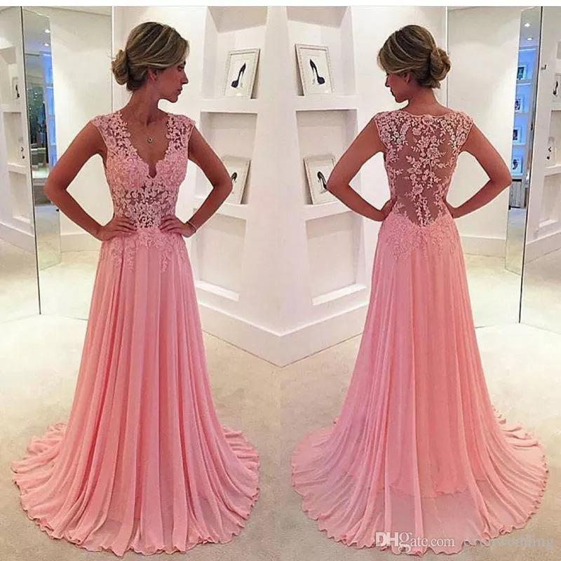 Plafonnés col V en mousseline de soie dentelle robes de soirée 2020 Rose fard à joues longue robe de bal Sheer Retour Robe formelle
