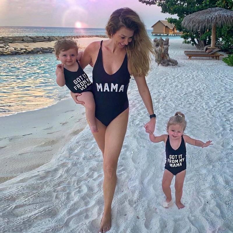 traje de baño de la playa para las mujeres y las niñas traje de baño de fusionado hija de la madre del bikini traje de baño de la familia mirada una juntan las piezas de baño de verano
