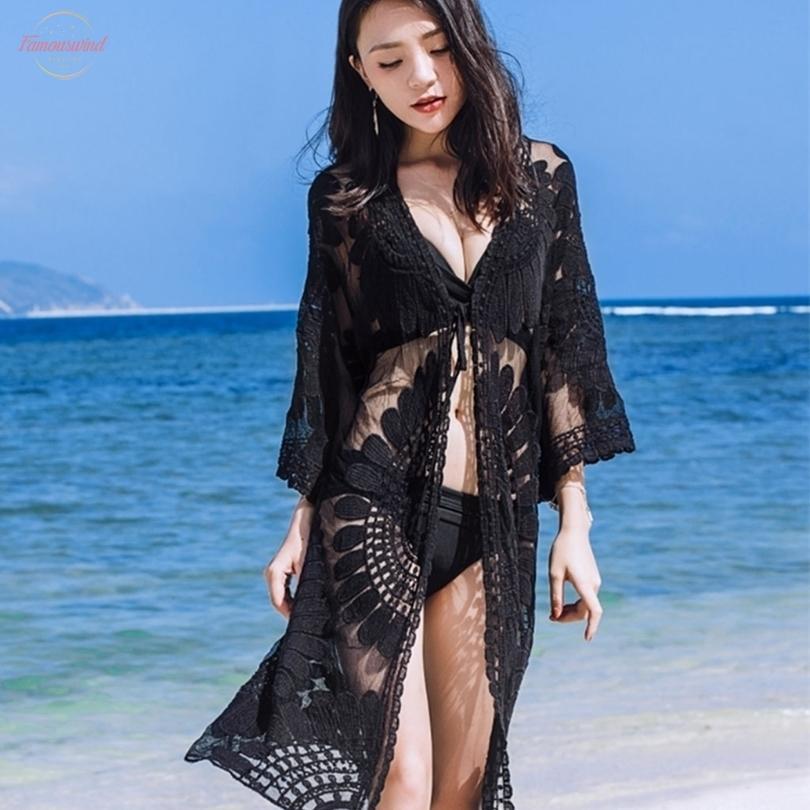 Womens Roupa 1Pc Mulheres Praia Cover Up bordado floral Swimwear Mulheres Robe Cardigan bathingsuit Drop Shipping