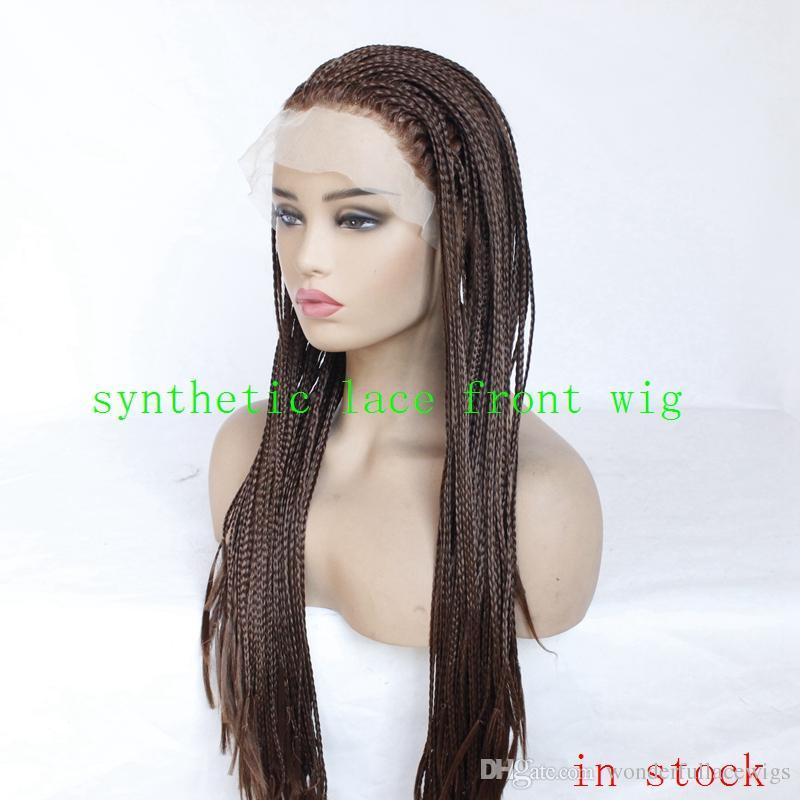 22inch 긴 검은 색 짙은 갈색 꼰된가 발 합성 머리 레이스 앞 머리 띠 가발, 아기 머리카락