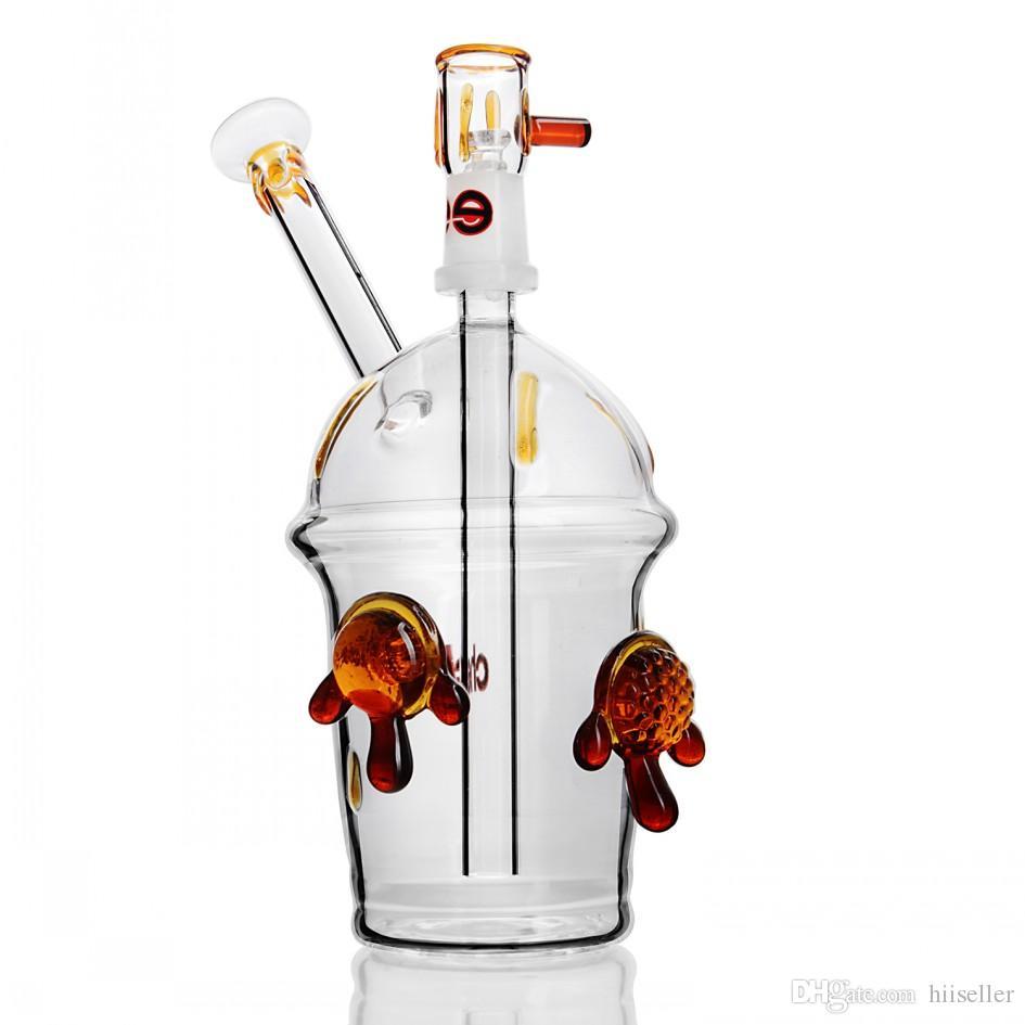 8.6 pollici Glasses Bumbler Narghill Narghilè inebriante Impianti di petrolio fumando Tubi di acqua di vetro Piccolo Bong con ciotola da 14 mm