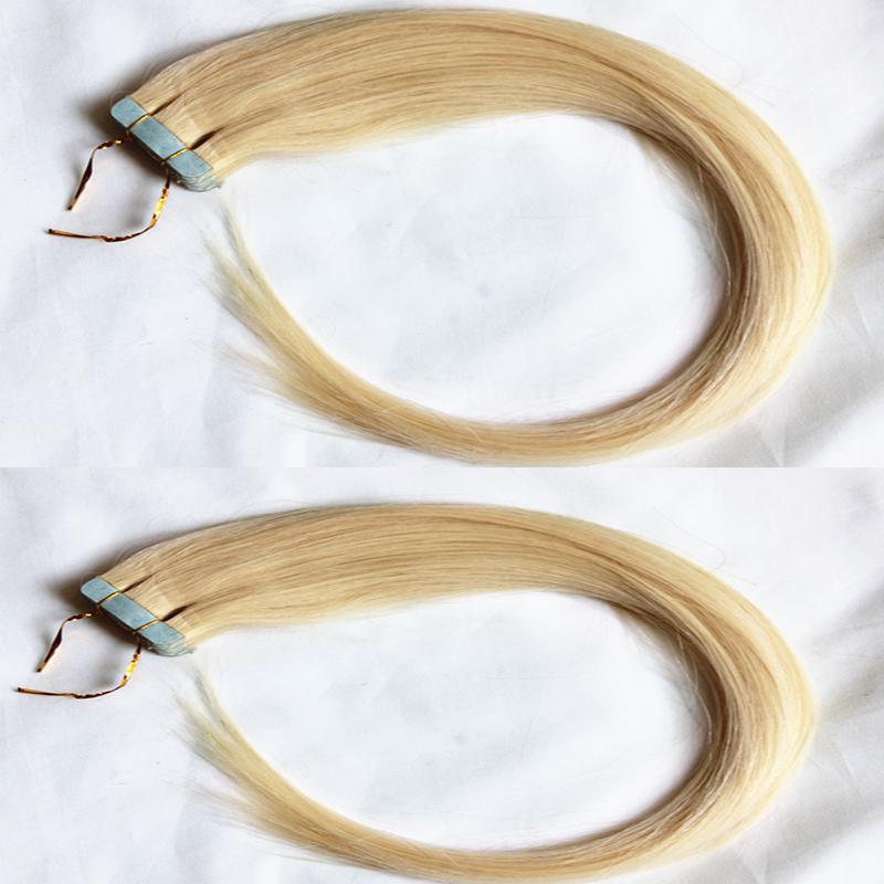 ملحقات الشريط شعر الإنسان مستقيم 50 جرام / حزمة 20 قطعة / الحزمة شقراء 100٪ الإنسان لحمة الشعر ملحقات الشعر 16-26 بوصة