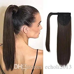 Envolver em torno de rabo de cavalo em linha reta 100 Clipe extensão do cabelo humano em 10-22 Inch cordão brasileira rabo de cavalo peruca castanho chocolate escuro # 2