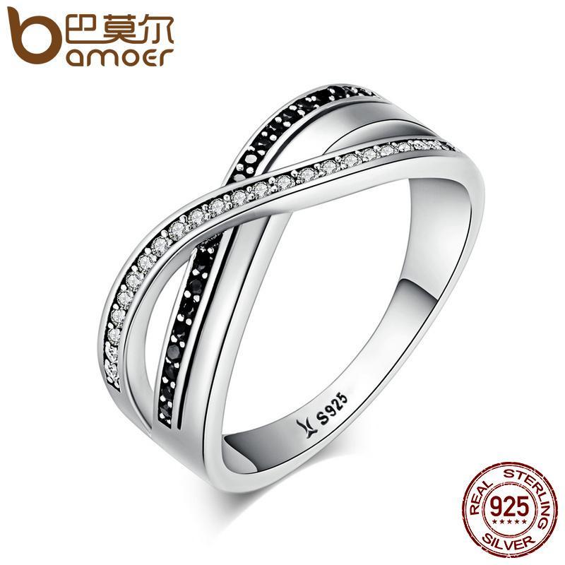 Bamoer Lüks 925 Ayar Gümüş Sonsuz Güzellik Büküm Dalga Kübik Zirkon Parmak Yüzük Kadınlar Için Nişan Takı Hediye Scr081 C19041601