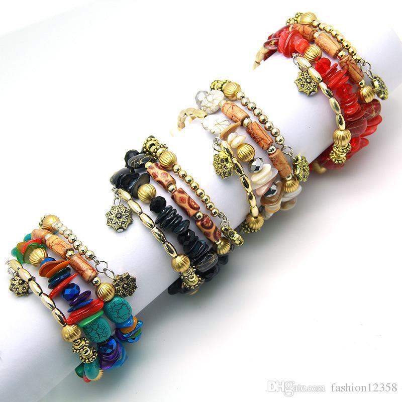 حار بيع خمر حجر الفيروز الطبيعي العقيق مطرز متعدد الطبقات لف سوار سوار أزياء الرجال والنساء شعبي مجوهرات هدايا العيد