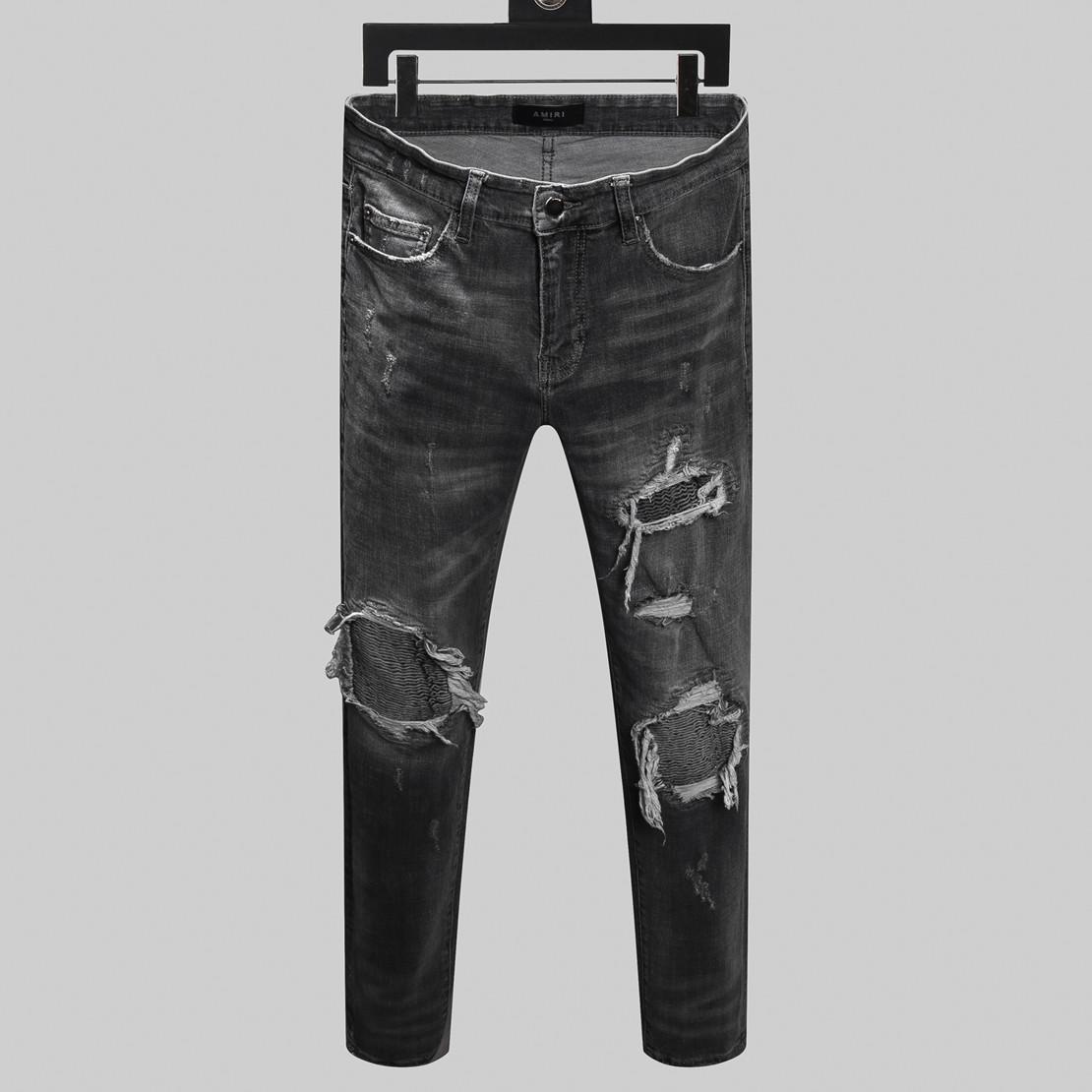 2020 моды бренда джинсы мужчины высокого качества эластичные Letters вышивка джинсы отверстие мужчины боятся бога мыть рок стиль мотоцикла мужские джинсы Slim Fit