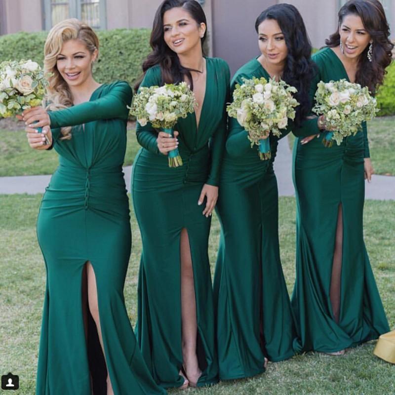 Пользовательские оболочки Сплит Stretch Satin V шеи Зеленый невесты платья Sexy длинные рукава Дешевые партии Вечерние платья 2018 года