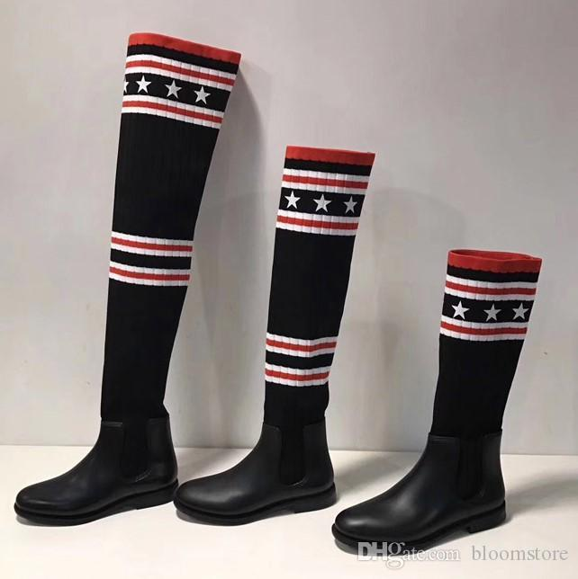 Striped Black Sock Long/Half Boots Women Over The Knee Boots Embroidered Thigh High Boots Stretch-knit Flats Female Creepers Shoes