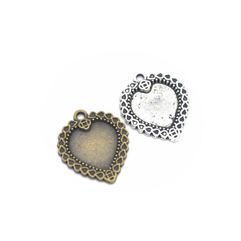 12st Anhänger Herz 25x21mm Antik Silber Bronze Schmucksachen, den Charme passender Ohrring Halsketten-Armband Kunst