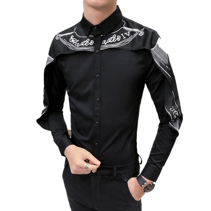 Camicia New Shirt Moda Uomo Manica Lunga Slim Fit gotico Camisa Uomini Wedding Patchwork Nero Bianco