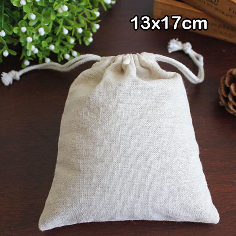 """Натуральный хлопок белье шнурок сумка 13x17cm (5""""x 6.5"""") упаковка из 50 День рождения свадьба конфеты ювелирные изделия джут подарочный мешок T200602"""