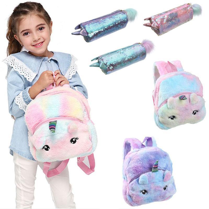 fashion unicorn soft plush sequin backpacks pencil case kawaii cartoon girls school bags nursery school kids shoulder bag schoolbag from lovetoy77 3 99 dhgate com
