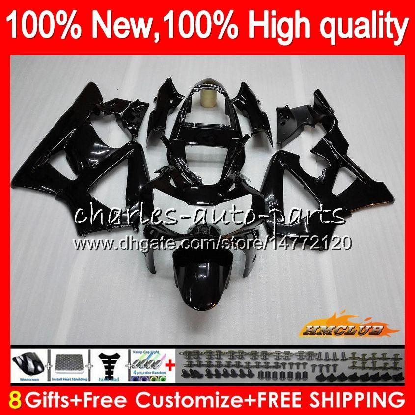 Bodys für HONDA glänzend schwarz CBR 929RR 900 929 RR CC 900cc 929CC 900RR 76HC.2 CBR929RR CBR900RR CBR929 CBR900 RR 2000 2001 00 01 Verkleidungs