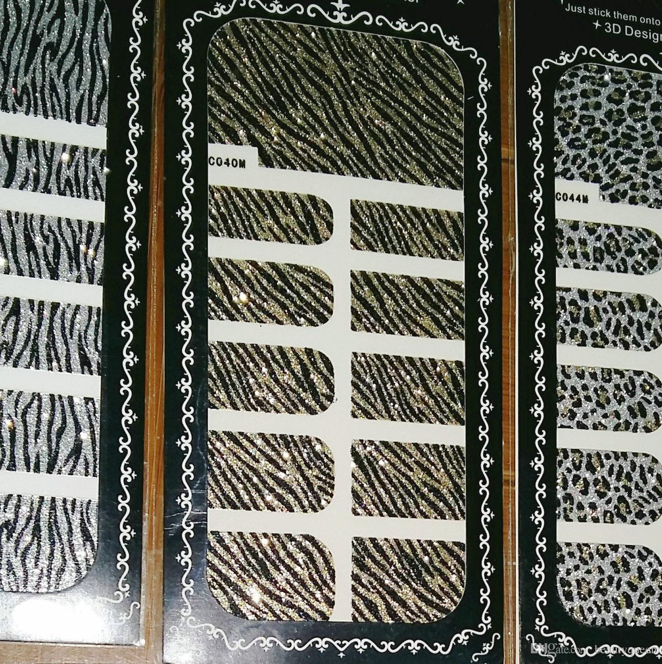 Korea Design Nail Decal Leopard Glitter Nail Art Wrap Wraps Sticker Foils Tips Decal Decoration Adhesive Applique * High Quality NEW Fashion