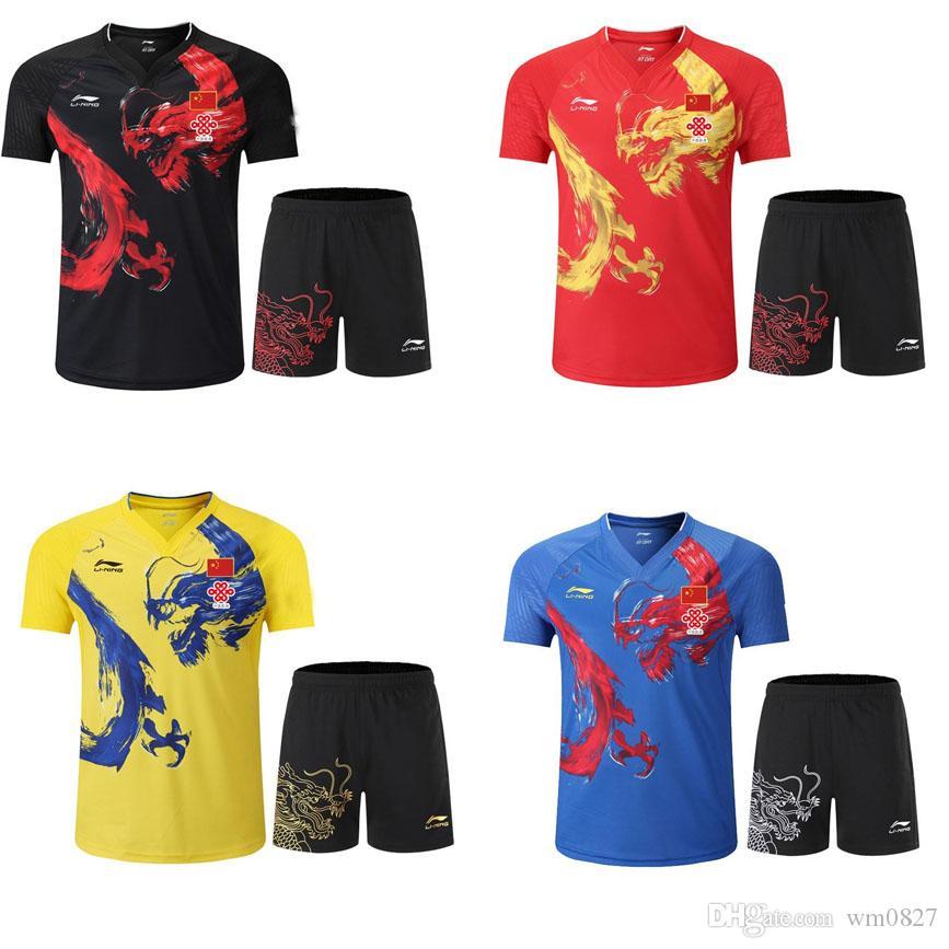 Men/women 2019 Table Tennis T-shirt National Team Competition Wear Player Edition Chinese Dragon Sports Wear,Badminton/Tennis Shirt shorts