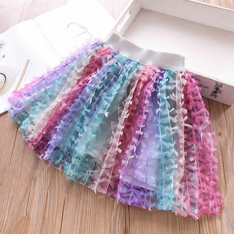 Kids designer clothes Girls Skirts 2019 new Summer baby rainbow Tutu Skirts bowknot Kids Skirt girls dress clothing C6495