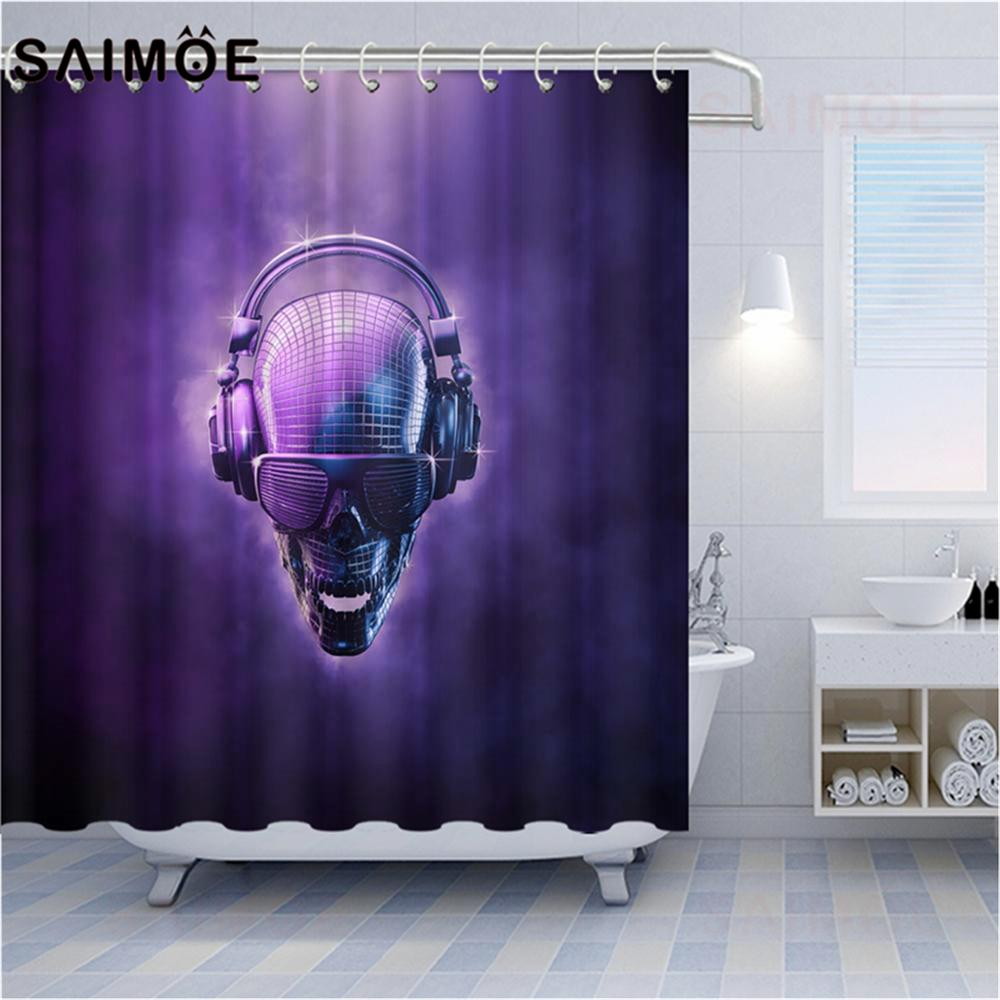 Skull Shower Curtains American Punk Music DJ Red And Green Carved Pattern Gear Machinery Skull Home Decor Bathroom Shower Curtain Waterproof