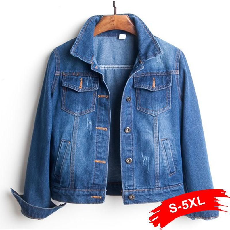Taille Plus Ripped Trou recadrée Jean Veste 4XL 5XL Light Blue Bomber court Denim Vestes Jaqueta manches longues Jeans Casual Coat