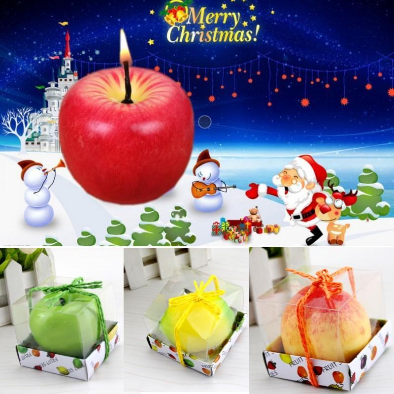 الديكور أبل شكل الفاكهة الشموع المعطرة مهرجان الشموع جو رومانسي حزب عشية عيد الميلاد السنة الجديدة ديكور