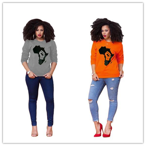 2020 с длинным рукавом рубашки женщин Осень Весна пуловер Топ фуфайки Карта Распечатать Девушки Crew Neck Блуза Дизайнер Толстовки Одежда Новая D8403